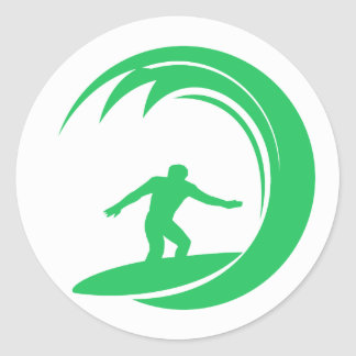 Kelly Green Surfer Classic Round Sticker
