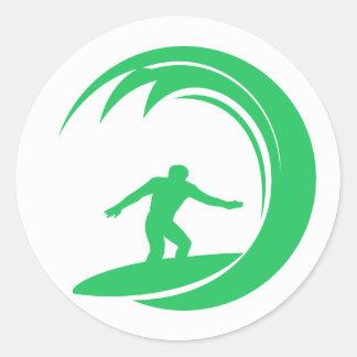 Kelly Green Surfer Round Sticker
