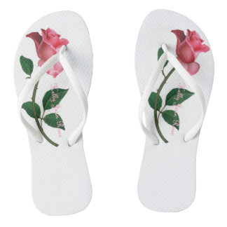 Kelly Jean Rose Pink /White Trim Thongs (Ladies)