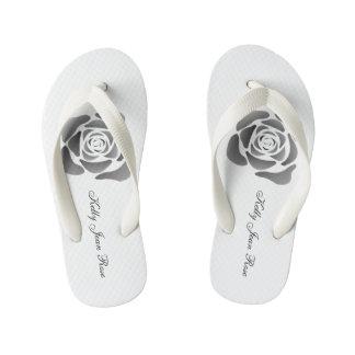 Kelly Jean Rose Thongs- Contemporary Black Rose Kid's Flip Flops