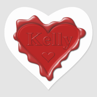 Kelly. Red heart wax seal with name Kelly Heart Sticker