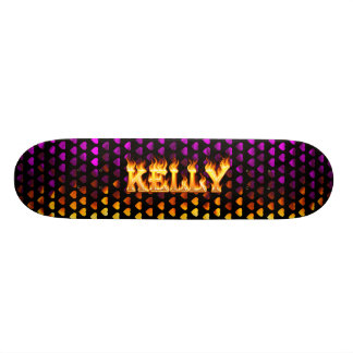 Kelly skateboard fire and flames design
