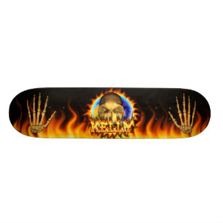 Kelly skull real fire and flames skateboard design