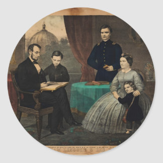 [Kelly & Sons portrait of Abraham Lincoln and his Classic Round Sticker