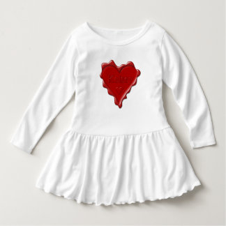 Kelsey. Red heart wax seal with name Kelsey Dress