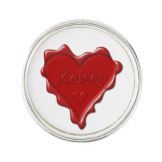 Kelsey. Red heart wax seal with name Kelsey Lapel Pin