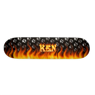 Ken skateboard fire and flames design.