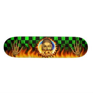 Ken skull real fire and flames skateboard design