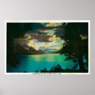Kenai Lake, Alaska with Storm Gathering Poster