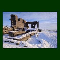 Kendal Castle snowy landscape Photographic Print