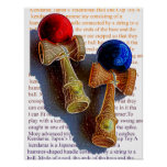 Kendama, Red and Blue Colour Ink Sketch Poster
