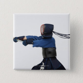 Kendo Fencer Practicing 15 Cm Square Badge