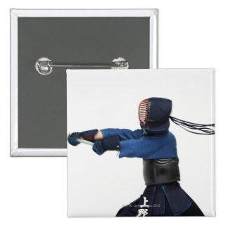 Kendo Fencer Practicing 15 Cm Square Badge