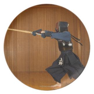 Kendo Fencer Practicing Plate