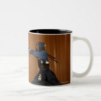 Kendo Fencer Practicing Two-Tone Coffee Mug
