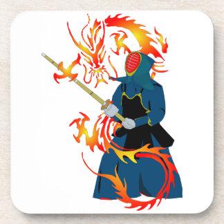 Kendo Swordsman and Fire Dragon Beverage Coaster