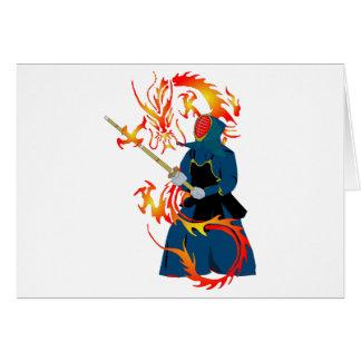 Kendo Swordsman and Fire Dragon Card