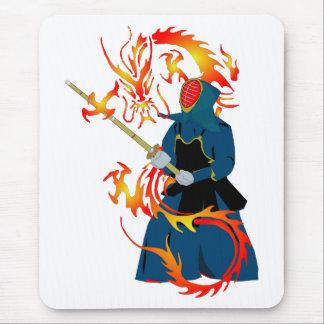 Kendo Swordsman and Fire Dragon Mousepads