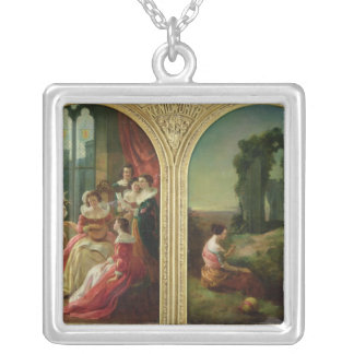 Kenilworth Castle - Past and Present, 1854 Silver Plated Necklace