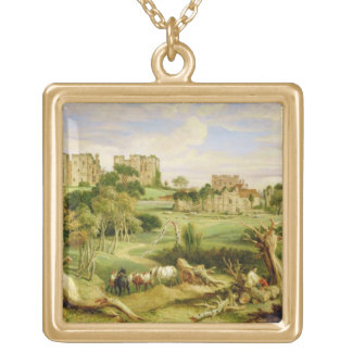 Kenilworth Castle, Warwickshire, 1840 (oil on pane Square Pendant Necklace