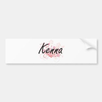 Kenna Artistic Name Design with Flowers Bumper Sticker