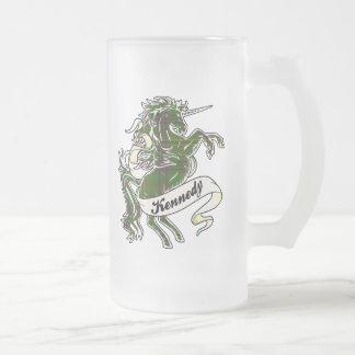 Kennedy Tartan Unicorn Frosted Glass Mug