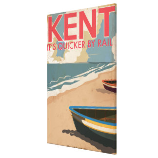 Kent, England Vintage locomotive Travel Poster Canvas Print