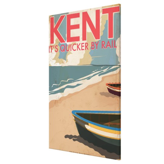 Kent, England Vintage locomotive Travel Poster Canvas Print