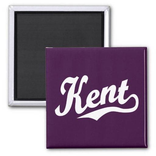 Kent script logo in white fridge magnet