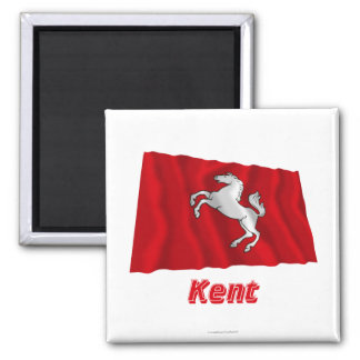 Kent Waving Flag with Name Square Magnet