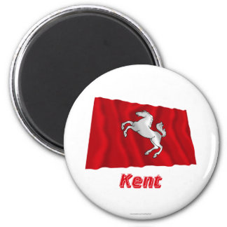 Kent Waving Flag with Name 6 Cm Round Magnet