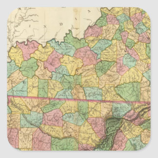 Kentucky and Tennessee 6 Square Sticker
