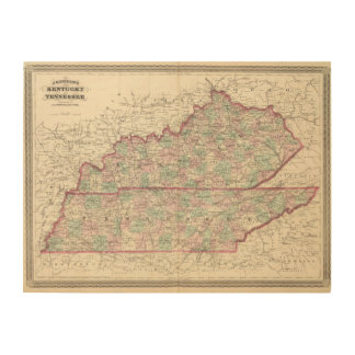 Kentucky and Tennessee Wood Prints