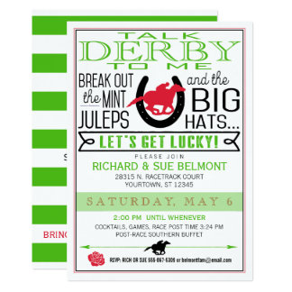 Kentucky Derby Horse Racing Party Black/Red/Kelly Card