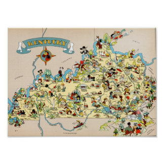 Kentucky Funny Vintage Map Poster