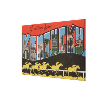 Kentucky (Horse Race Scene) - Large Letter Scene Stretched Canvas Print