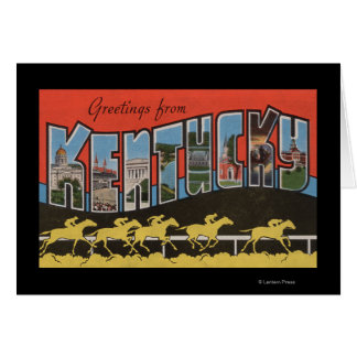 Kentucky (Horse Race Scene) - Large Letter Scene Card