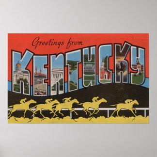 Kentucky (Horse Race Scene) - Large Letter Scene Poster