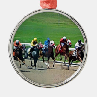 Kentucky Horse Racing Silver-Colored Round Decoration