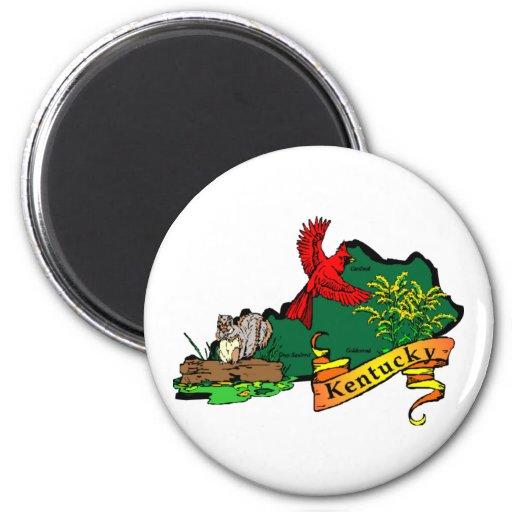 Kentucky map 2 6 cm round magnet