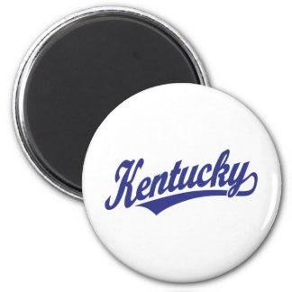 Kentucky script logo in blue 6 cm round magnet