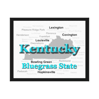 Kentucky State Pride Map Silhouette Stretched Canvas Prints