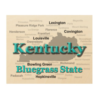 Kentucky State Pride Map Silhouette Wood Print