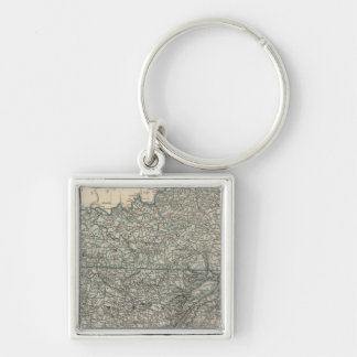 Kentucky, Tennessee 2 Silver-Colored Square Key Ring