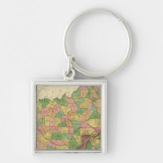 Kentucky, Tennessee and part of Illinois Silver-Colored Square Key Ring