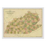 Kentucky & Tennessee Railroad Map 1839 Poster