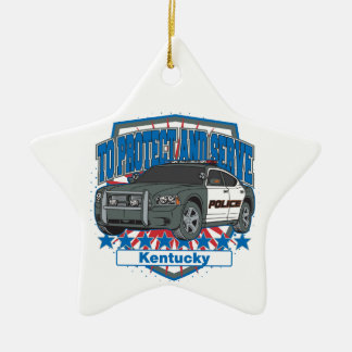 Kentucky To Protect and Serve Police Squad Car Double-Sided Star Ceramic Christmas Ornament