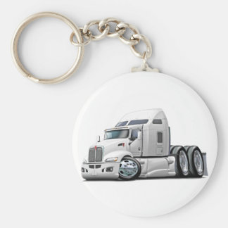 Kenworth 660 White Truck Basic Round Button Key Ring