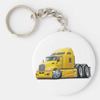 Kenworth 660 Yellow Truck Basic Round Button Key Ring