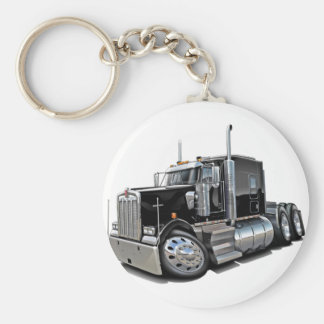 Kenworth w900 Black Truck Basic Round Button Key Ring